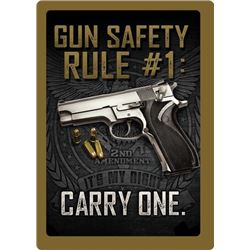 "TIN SIGN 12""x17"" ""GUN SAFETY"""