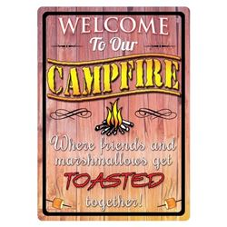 "TIN SIGN 12""x17"" ""WELCOME TO OUR CAMPFIRE"""