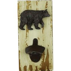 "WALL MOUNT RUSTIC BOTTLE OPENER BEAR 4.5""X9"""