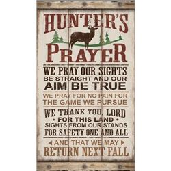 "RUSTIC WOOD LOOK TIN SIGN HUNTER'S PRAYER 8.5""X14"""