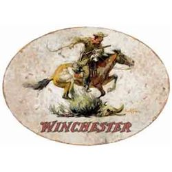 "WINCHESTER HORSE & RIDER SIGN-OVAL 18""X11"