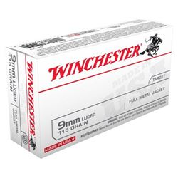 WIN AMMO USA 9MM LUGER 115GR. FMJ-RN 50-PACK