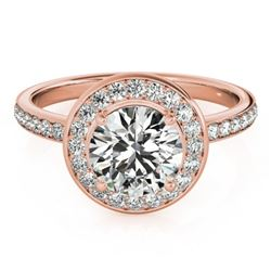 1.65 CTW Certified VS/SI Diamond Solitaire Halo Ring 18K Rose Gold - REF-576H5W - 26989