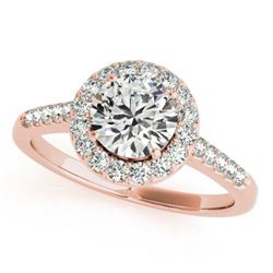 1.5 CTW Certified VS/SI Diamond Solitaire Halo Ring 18K Rose Gold - REF-400F9M - 26342