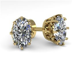 1.0 CTW VS/SI Oval Cut Diamond Stud Solitaire Earrings 18K Yellow Gold - REF-156T4X - 35671