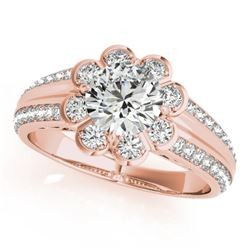 0.85 CTW Certified VS/SI Diamond Solitaire Halo Ring 18K Rose Gold - REF-121Y8N - 27031