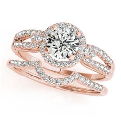1.11 CTW Certified VS/SI Diamond 2Pc Wedding Set Solitaire Halo 14K Rose Gold - REF-196T2X - 31179