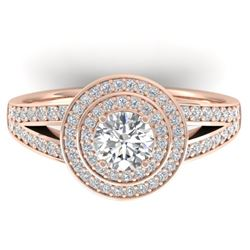 1.15 CTW Certified VS/SI Diamond Art Deco Halo Ring 14K Rose Gold - REF-147F3M - 30364