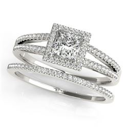 1.56 CTW Certified VS/SI Princess Diamond 2Pc Set Solitaire Halo 14K White Gold - REF-436F5M - 31364