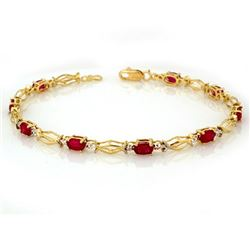 4.0 CTW Ruby Bracelet 10K Yellow Gold - REF-28H4W - 10952