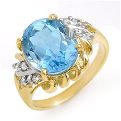 5.22 CTW Blue Topaz & Diamond Ring 10K Yellow Gold - REF-29Y3N - 13265