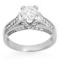 1.25 CTW Certified VS/SI Diamond Ring 18K White Gold - REF-209M3F - 11600