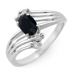 0.65 CTW Blue Sapphire & Diamond Ring 18K White Gold - REF-38W4H - 13104