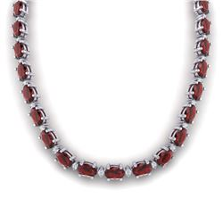 46.5 CTW Garnet & VS/SI Certified Diamond Eternity Necklace 10K White Gold - REF-218M2F - 29424