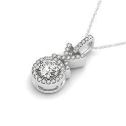 0.78 CTW Certified VS/SI Diamond Solitaire Halo Necklace 14K White Gold - REF-102H2W - 30195