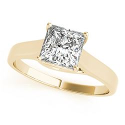 0.75 CTW Certified VS/SI Princess Diamond Solitaire Ring 18K Yellow Gold - REF-207K8R - 28145