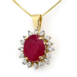 5.32 CTW Ruby & Diamond Pendant 14K Yellow Gold - REF-87T3X - 12693