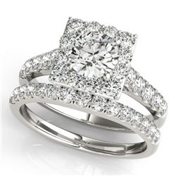 2.29 CTW Certified VS/SI Diamond 2Pc Wedding Set Solitaire Halo 14K White Gold - REF-434W8H - 31187