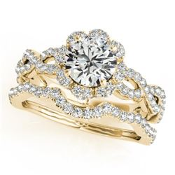 1.93 CTW Certified VS/SI Diamond 2Pc Wedding Set Solitaire Halo 14K Yellow Gold - REF-420M4F - 31186