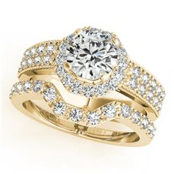 1.69 CTW Certified VS/SI Diamond 2Pc Wedding Set Solitaire Halo 14K Yellow Gold - REF-409N5Y - 31327