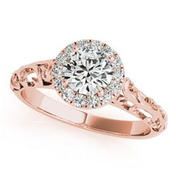 0.62 CTW Certified VS/SI Diamond Solitaire Antique Ring 18K Rose Gold - REF-110K4R - 27325