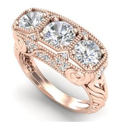 2.51 CTW VS/SI Diamond Solitaire Art Deco 3 Stone Ring 18K Rose Gold - REF-436T4X - 36990