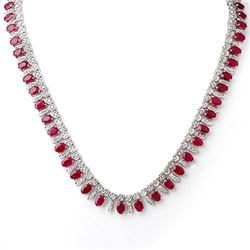 26 CTW Ruby & Diamond Necklace 14K White Gold - REF-709W3H - 11715