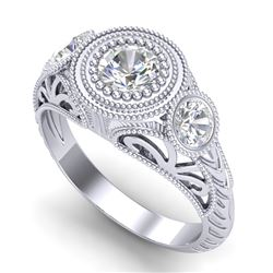 1.06 CTW VS/SI Diamond Solitaire Art Deco 3 Stone Ring 18K White Gold - REF-180X2T - 36893