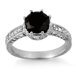 2.0 CTW Vs Certified Black & White Diamond Ring 18K White Gold - REF-104K5R - 11810