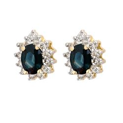 4.05 CTW Blue Sapphire & Diamond Earrings 14K Yellow Gold - REF-65M6F - 10236