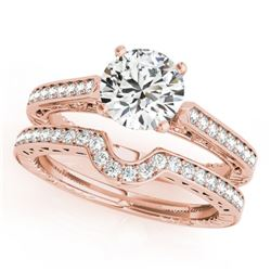 0.82 CTW Certified VS/SI Diamond Solitaire 2Pc Wedding Set Antique 14K Rose Gold - REF-128T5X - 3151