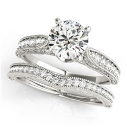 0.95 CTW Certified VS/SI Diamond Solitaire 2Pc Wedding Set Antique 14K White Gold - REF-144W2H - 314