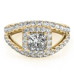 1.85 CTW Certified VS/SI Princess Diamond Solitaire Halo Ring 18K Yellow Gold - REF-261M3F - 27197