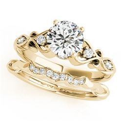 0.97 CTW Certified VS/SI Diamond Solitaire 2Pc Wedding Set Antique 14K Yellow Gold - REF-200Y9N - 31