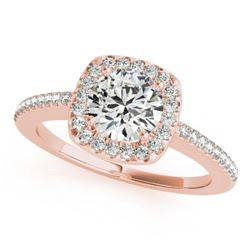 0.75 CTW Certified VS/SI Diamond Solitaire Halo Ring 18K Rose Gold - REF-124M8F - 26597