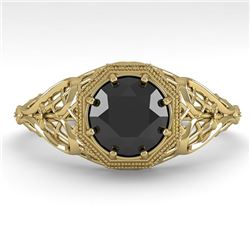 1.0 CTW Black Certified Diamond Engagement Ring Deco 18K Yellow Gold - REF-65N3Y - 36037