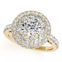 2.09 CTW Certified VS/SI Diamond Solitaire Halo Ring 18K Yellow Gold - REF-444Y2N - 26496
