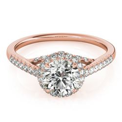 1.5 CTW Certified VS/SI Diamond Solitaire Halo Ring 18K Rose Gold - REF-392H2W - 26992