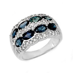 3.25 CTW Blue Sapphire & Diamond Ring 14K White Gold - REF-105F5M - 13390