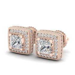2.01 CTW Princess VS/SI Diamond Art Deco Stud Earrings 18K Rose Gold - REF-245X5T - 37128