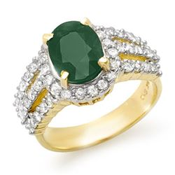 4.70 CTW Emerald & Diamond Ring 14K Yellow Gold - REF-115T5X - 13294