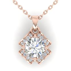 0.95 CTW Certified VS/SI Diamond Art Deco Stud Necklace 14K Rose Gold - REF-114T5X - 30280