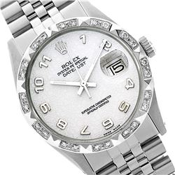 Rolex Men's Stainless Steel, QuickSet, Arabic Dial with Pyrimid Diam Bezel  - REF-430M9H