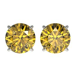 2.57 CTW Certified Intense Yellow SI Diamond Solitaire Stud Earrings 10K White Gold - REF-381H8W - 3
