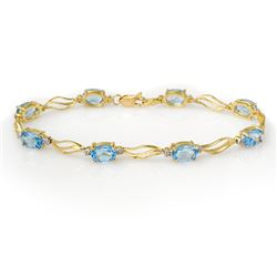 8.02 CTW Blue Topaz & Diamond Bracelet Solid 10K Yellow Gold - REF-35X5T - 10827