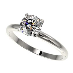 1 CTW Certified H-SI/I Quality Diamond Solitaire Engagement Ring 10K White Gold - REF-134F2M - 32884