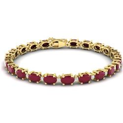 30.8 CTW Ruby & VS/SI Certified Diamond Eternity Bracelet 10K Yellow Gold - REF-217H5W - 29460