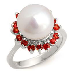 0.75 CTW Red Sapphire Ring 18K White Gold - REF-53F6M - 10360