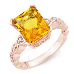 4.25 CTW Citrine & Diamond Ring 10K Rose Gold - REF-33H3W - 10850