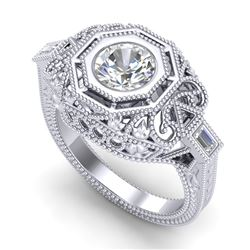 1.13 CTW VS/SI Diamond Art Deco Ring 18K White Gold - REF-360H2W - 37046